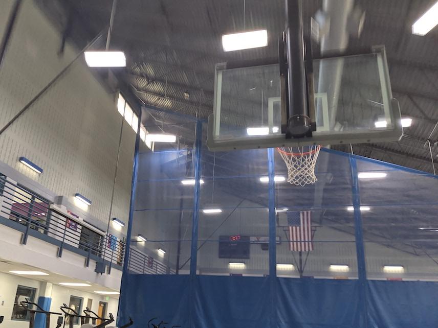 Basketball goal at a YMCA